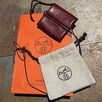 Hermes Burgundy Leather Coin Purse Necklace Photo