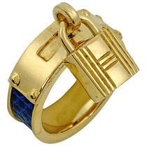 Hermes Cadena Motif Scarf Ring Fastening Gp Gold Blue Women 'S Used Photo