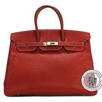 Hermes Candy Birkin 35 Rouge Casaque  Inside Cobalt Epsom Tote Bag Pbhw Mprs Photo