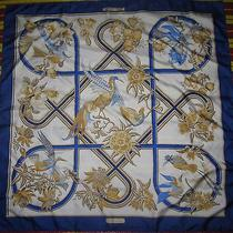 Hermes Caraibes Blue & Cream Bird of Paradise Silk Scarf Photo