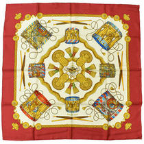 Hermes Carre 90 Les Tambours Tambour Scarf 100% Silk Red White Gold Ladies Photo