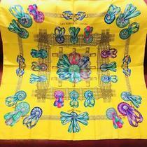 Hermes Carre 90 Scarf Les Rubans Du Cheval Yellow Auth 012618 Photo