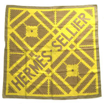 Hermes Carre 90 Sellier Scarf Silk 100 Yellow Brown Women Second no.74525 Photo
