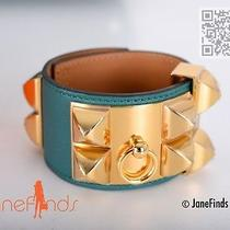 Hermes Cdc  Collier De Chien Bracelet Malachite Gold Medor  Photo