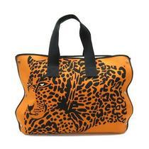 Hermes Cheetah Beach Hand Tote Bag 2018 Cotton Orange Black Used Unisex Photo