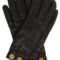 Hermes Chocolate Swift Leather & Cashmere Gloves Photo