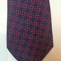 Hermes Classic Navy Blue Silk Men's Neck Tie W. Red Circular Chain Pattern Photo