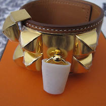 Hermes Collier De Chien Cdc Bracelet Cuff Barenia Gold Small Bnib Photo