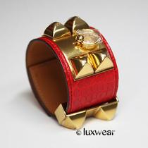 Hermes Collier De Chien Hermes Bracelet Geranium Croc With Gold Cdc  Photo