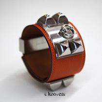 Hermes Collier De Chien Hermes Bracelet Orange With Silver Cdc  Photo