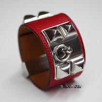 Hermes Collier De Chien Hermes Bracelet Rouge Casaque With Silver Cdc  Photo