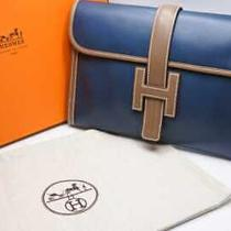 Hermes Color Clutch Bag Jije Blue Tarasa Etop Toderact L-Engraved Pole 25 14596 Photo