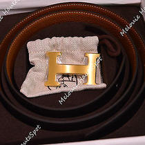 Hermes Constance Reversible Belt Black Box Brown Togo Gold H Buckle 90 Belt Set Photo