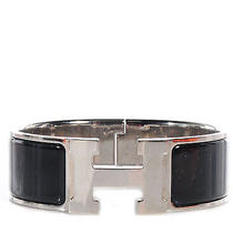 Hermes Enamel Clic Clac H Bracelet Cuff Bangle Wide Pm Black Silver Phw Photo
