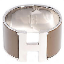 Hermes Enamel Clic Clac H Extra Wide Bracelet Silver Taupe Cuff Bangle Pm  Photo
