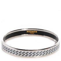 Hermes Enamel Extra Narrow Clic c'est Noue Bracelet Platinum 62 New Photo