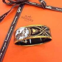 Hermes Enamel Grand Apparat Horse Wide Bracelet Cuff Bangle 70 Noir Palladium  Photo