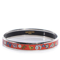 Hermes Enamel Narrow Tohu Bohu Printed Bracelet Bangle Cuff Letters Orange 65 Photo