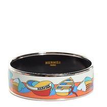 Hermes Enamel Printed Boats Wide Bracelet 65  Photo