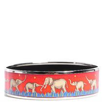 Hermes Enamel Printed Elephants Grazing Wide Bracelet Cuff Bangle 70 Red Photo