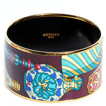 Hermes Enamel Printed Flacons Extra Wide Bracelet 70 Jewelry Bangle Cuff Photo