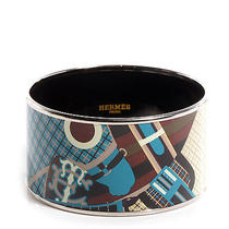 Hermes Enamel Printed Horse Equestrian Extra Wide Bracelet 62 Bangle Cuff Silver Photo