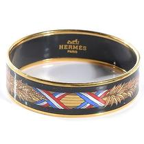 Hermes Enamel Printed Wide Blue Bracelet Cuff 65 Photo