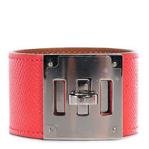 Hermes Epsom Kelly Dog Bracelet Cuff Jewelry Rose Jaipur Pink Phw Photo
