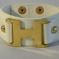 Hermes Genuine Leather Cuff Bangle Bracelet Stamped Hermes Pre-Owned Mint Photo