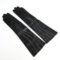 Hermes Gloves Globe Women 'S Long Length Navy Black Leather Used no.7515 Photo