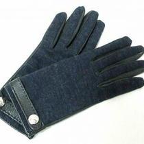 Hermes Gloves Women 'S Serie Dark Navy Black Wool Leather Used no.7525 Photo
