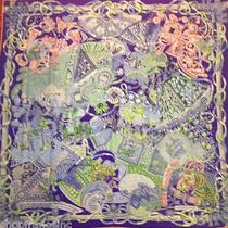 Hermes Gm Cashmere Scarf Shawl Au Fil Du Carrre Purple Green 140cm New W/tag Photo