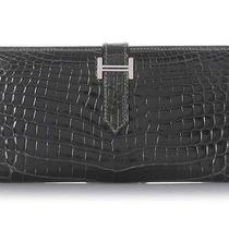 Hermes Graphite Crocodile Bearn Wallet - Euc - a Rare Find Photo