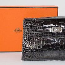 Hermes  Graphite Crocodile Kelly 22cm Pochette Clutch Palladium Hardware Nib Photo