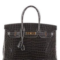 Hermes Graphite Porosus Crocodile Shiny Birkin Handbag 35cm Ghw Photo