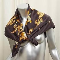Hermes Gray Brown Oriental Horse Print Silk Wrap Shawl Cape Scarf Photo