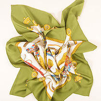 Hermes Green White Multicolor Silk