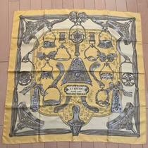 Hermes Hermes Scarf Boyfriend 90 Etriers Yellow 88cm Ae88cm Silk 100% Used Photo