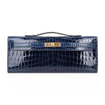 Hermes Kelly Cut Bag Blue Sapphire Exotic Gold Hardware Clutch Photo