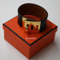 Hermes Kelly Dog Bracelet  Black With Gold Photo