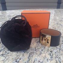 Hermes Kelly Dog Leather Bracelet With Gold Plated Hardware Nwt Authentic Photo