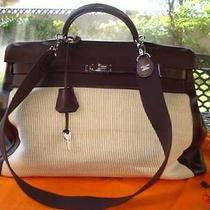 Hermes Kelly Sac a Voyage 50cm Chamonix Leather & Crinoline Large Travel Tote Photo