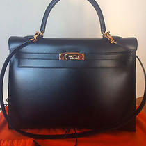 Hermes Kelly Sellier 35 Black Box Gold Hdw / Authenticated by Bababebi /full Set Photo