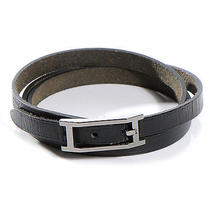 Hermes Leather Hapi Triple Tour Wrap Bracelet M Noir Black Photo