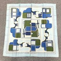 Hermes Les Coupes Blue Green White Carre 90 100% Silk Scarf M36932118076 Photo