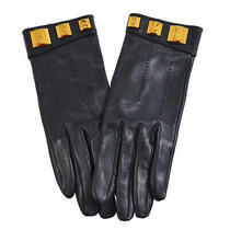 Hermes Logos Gloves Leather Navy 7 1/2 Accessories Authentic Ak31683c Photo
