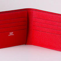 Hermes Men's Mc2 Red Rouge Copernic Veau  Wallet in Epsom Leather Rare New Photo