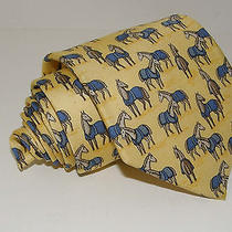 Hermes Men's Tie 7698 Oa Made France Yellow Horses Necktie 58