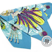 Hermes New 90 Light Blue Silk Scarf Mprs Photo