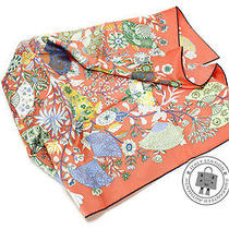 Hermes New 90 Orange Pink Silk Scarf Mprs Photo